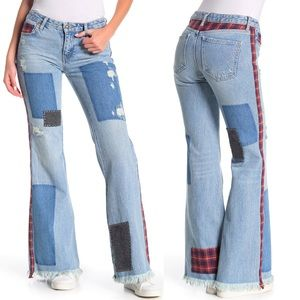 Free People Mixed Plaid Patchwork Slim Flare Jeans